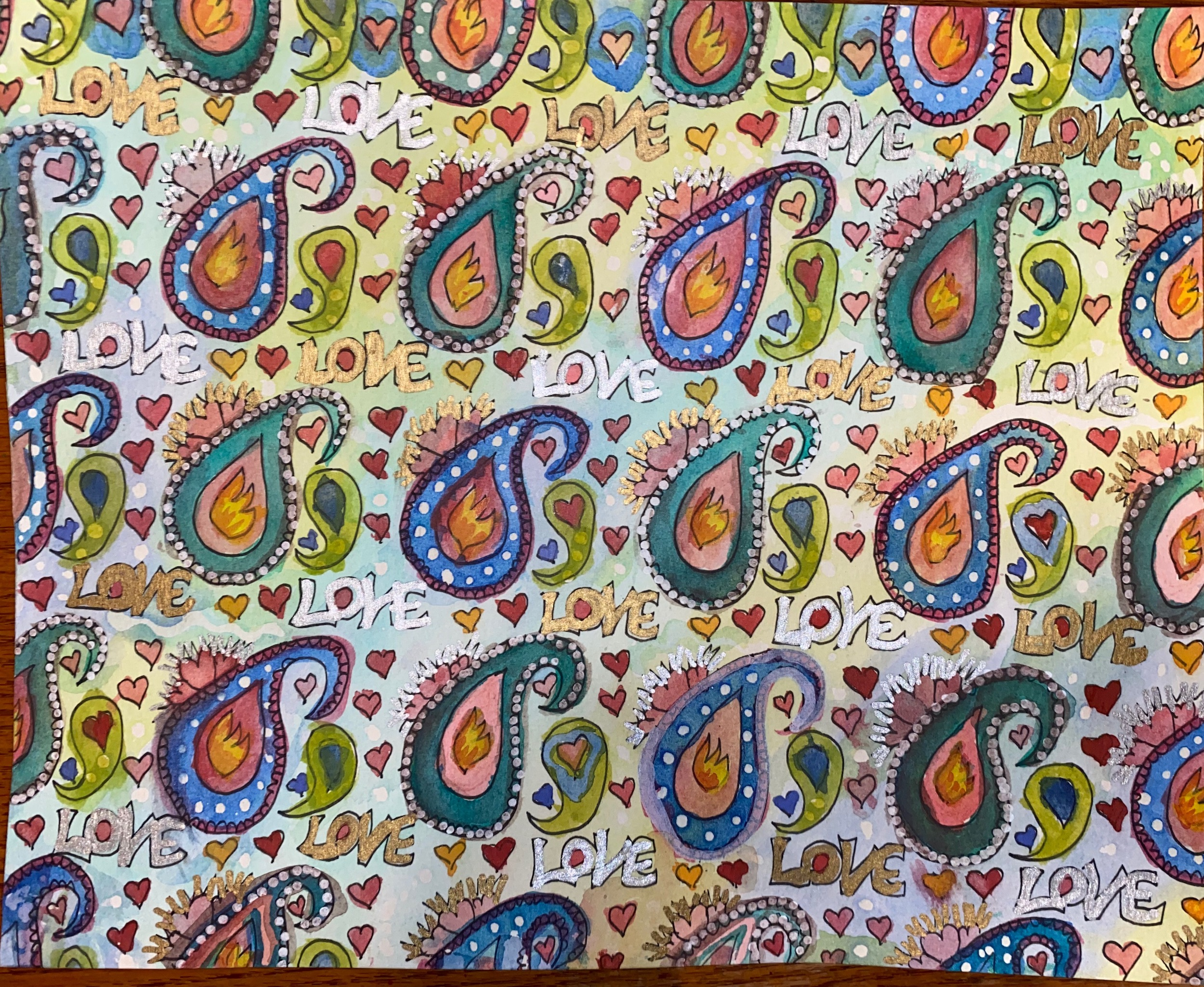 swiss repeat pattern of colorful paisleys helps one meditate on life, cracking open to let in more light